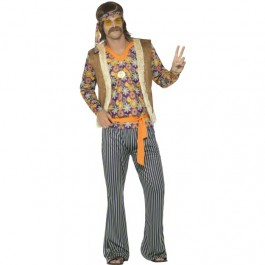 60's Singer Costume, Male, with Top, Waistcoat (Fancy Dress)