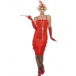 Flapper Costume Red (Fancy Dress)