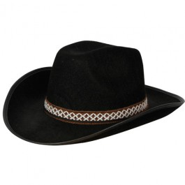 Black Cowboy Hat With Decorative Band
