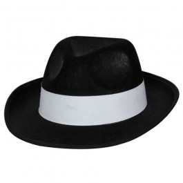 Felt Gangster Hat Black With White Band