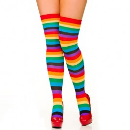 Rainbow Neon Striped Thigh High Socks