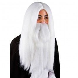 White Wizard Wig & Beard (Fancy Dress)