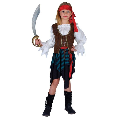 Caribbean Pirate Girl (Fancy Dress)  sc 1 st  Kingdom Fancy Dress & Caribbean Pirate Girl Girls Fancy Dress Costume Pirates Outfit 3/13 ...