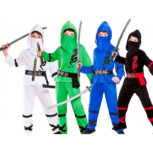 Power Ninjas in Blue Green Red White or Black  sc 1 st  Kingdom Fancy Dress & Power Ninjas Boys Martial Arts Ninja Fancy Dress Costume Fighter ...