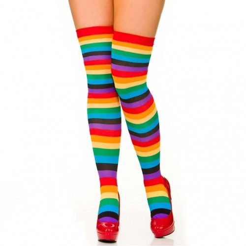 e927cced7daa0 Ladies Over The Knee Neon Striped Thigh High Socks Adults 80s Fancy ...