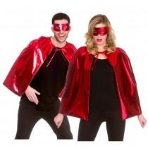 Metalic Superhero Cape & Mask - RED