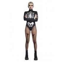 Fever Skeleton Costume, Black & White