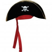 Pirate Hat- Black Gold Trim Red Bandana