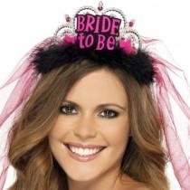 Bride To Be Tiara Black Veil