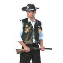"Cowboy Waistcoat Black - Chest size 42""-44"""