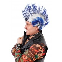 Mohican Blue/White Wig