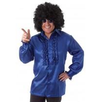 Satin Ruffle Shirt (Various Colours) - Blue