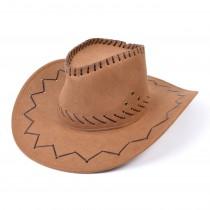 Cowboy Hat Stitched Brown
