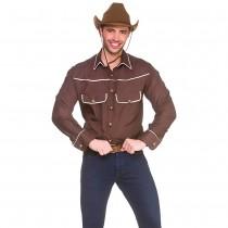 Western Cowboy Shirt - Brown (XL) **NEW**