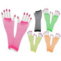 Long Fishnet Neon Gloves (Fancy Dress)
