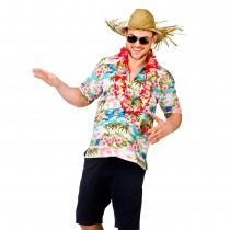 Hawaii Shirt - Pink Flower & Palm Trees (Fancy Dress)