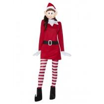Elves Behavin' Badly Ladies Elf Costume, Red & Whi