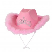 Pink Cowgirl Hat Marabou Feather