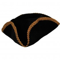 Pirate Hat - Black Gold Braid Trim (Fancy Dress)