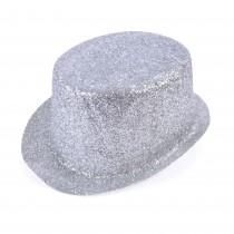 Silver Glitter Topper Hat