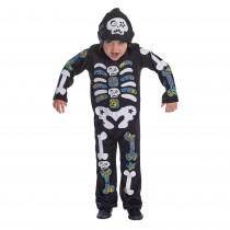 Skeleton Boy Hooded with Colour Bones - Medium
