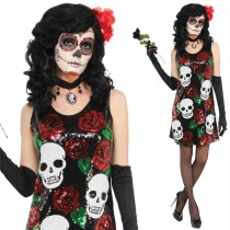 Skull + Roses Sequin Dress